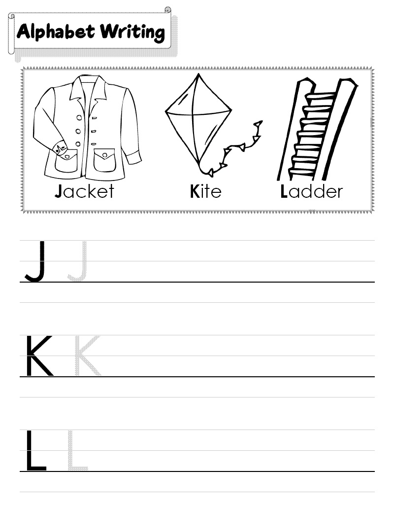 alphabet writing worksheets for kids