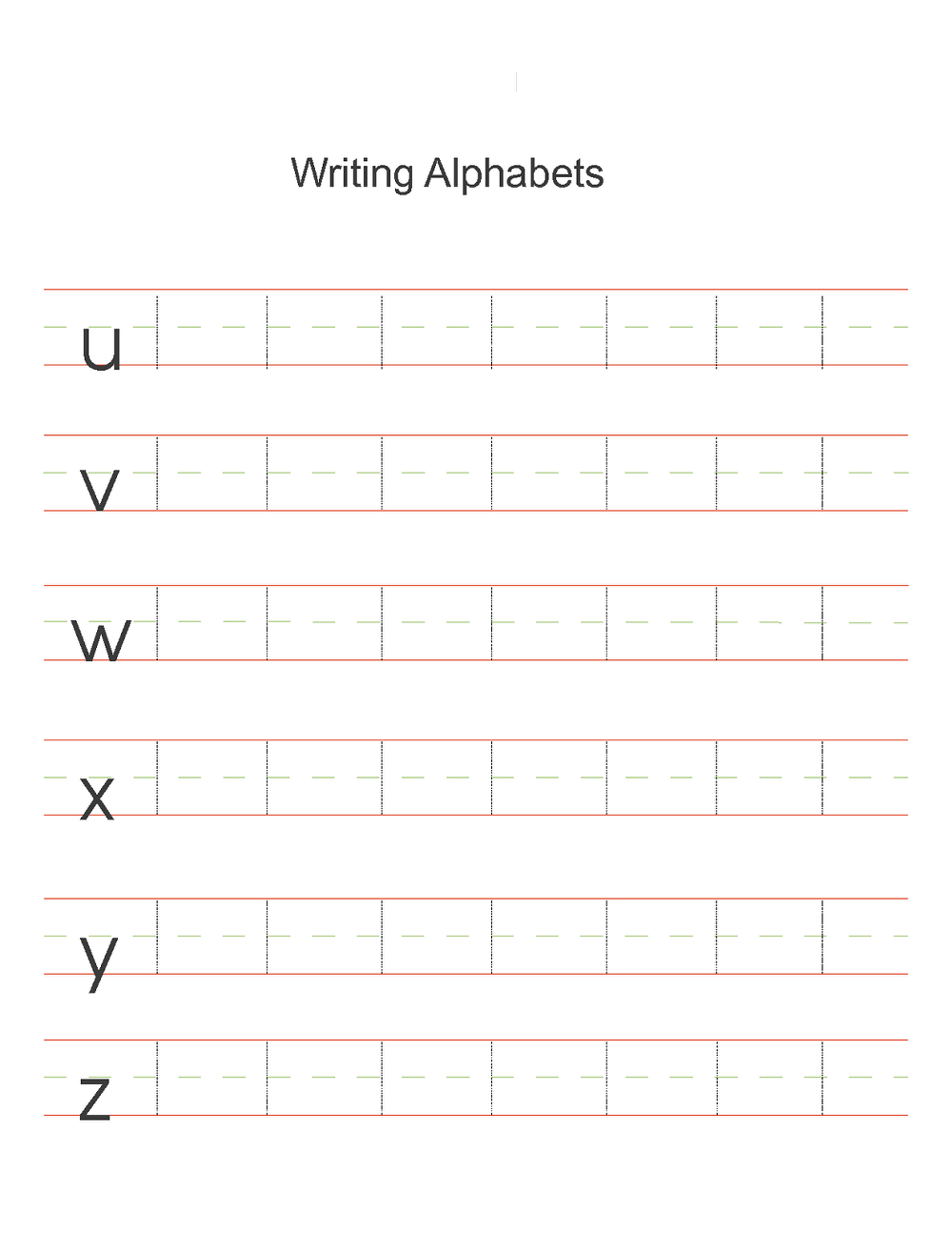 alphabet writing worksheets page