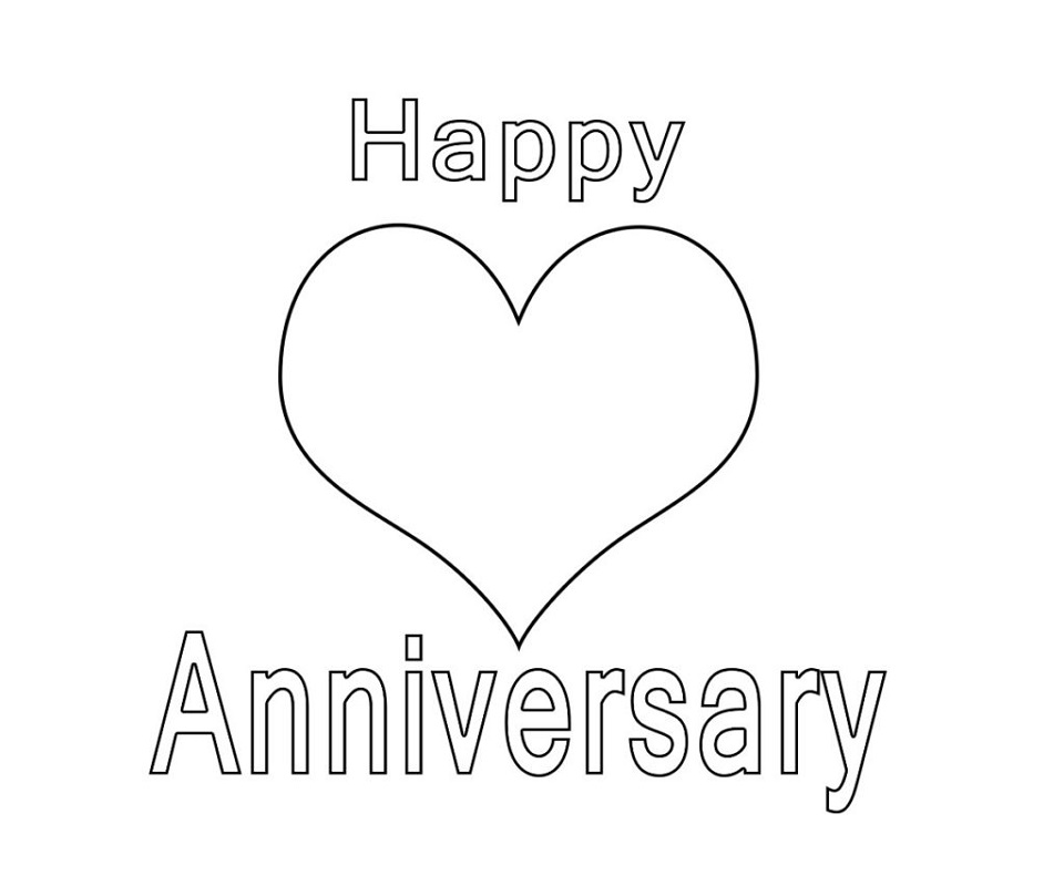 happy anniversary coloring page printable