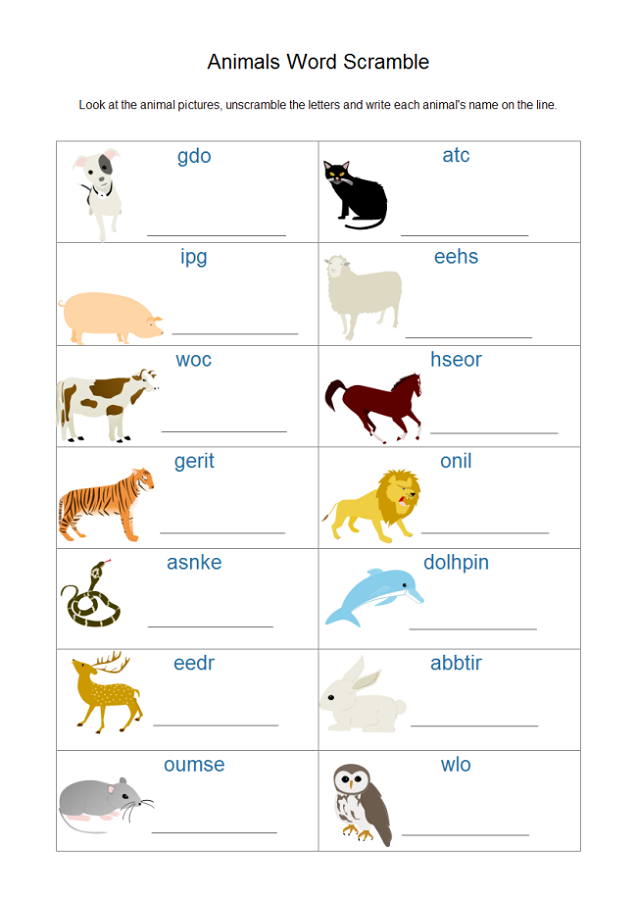 animal word scramble cool
