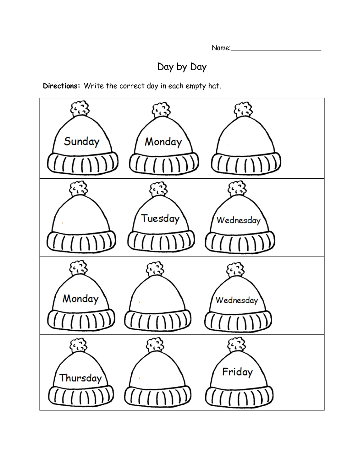 days of the week worksheets for preschool