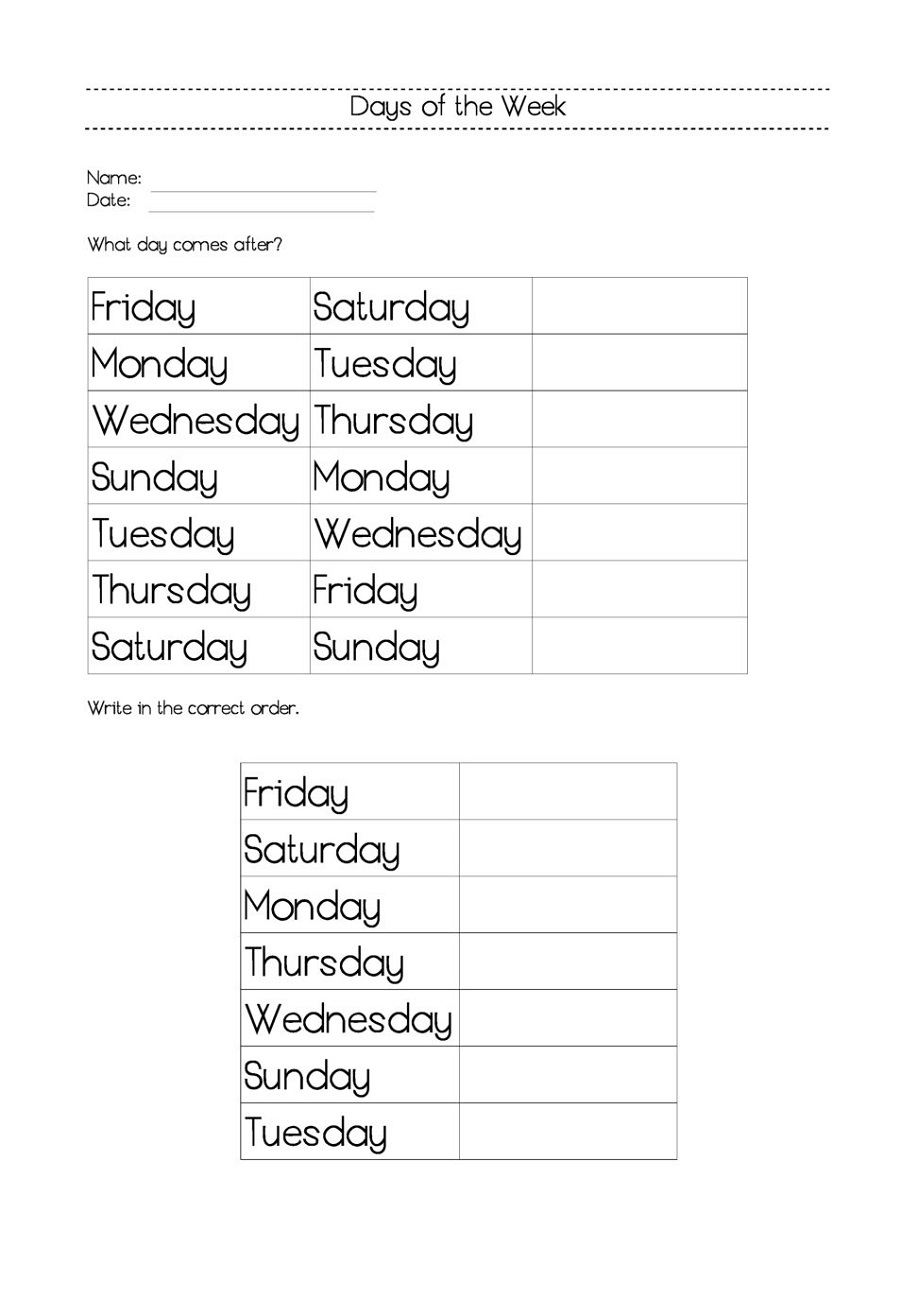days of the week worksheets free download