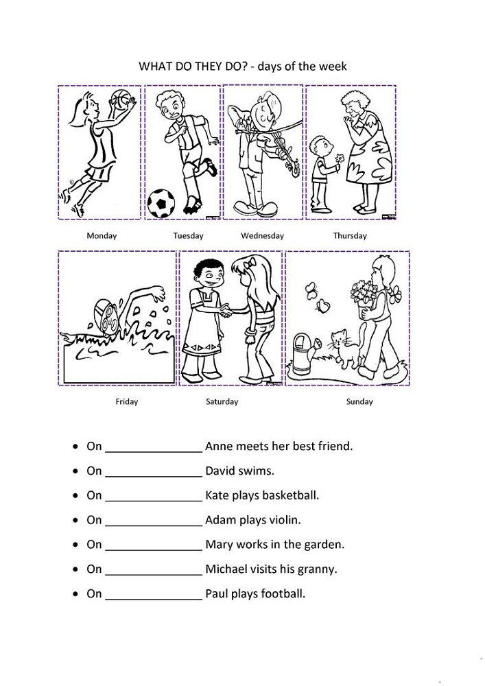 days of the week worksheets fun