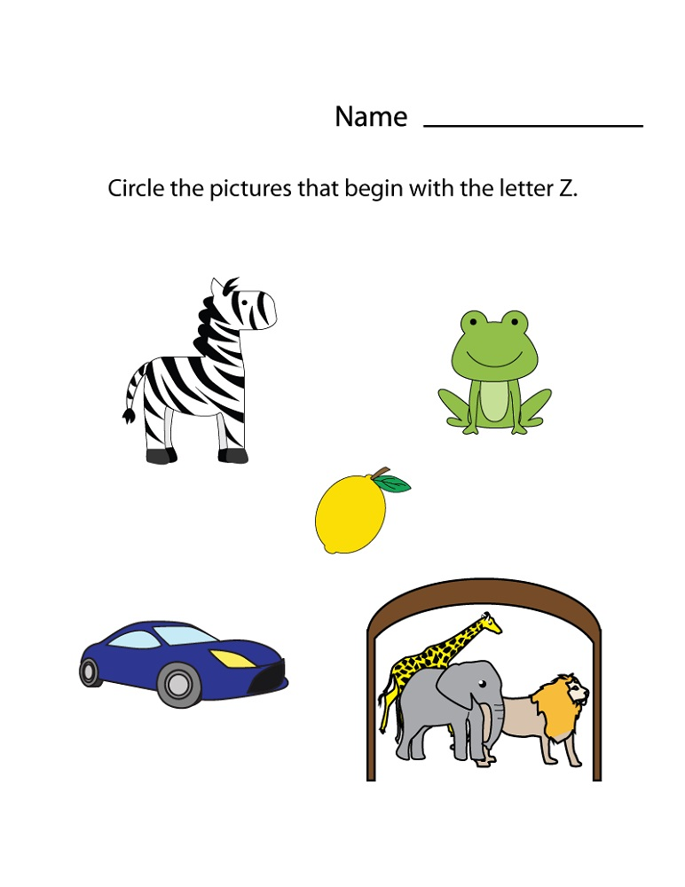 letter z worksheets for preschool