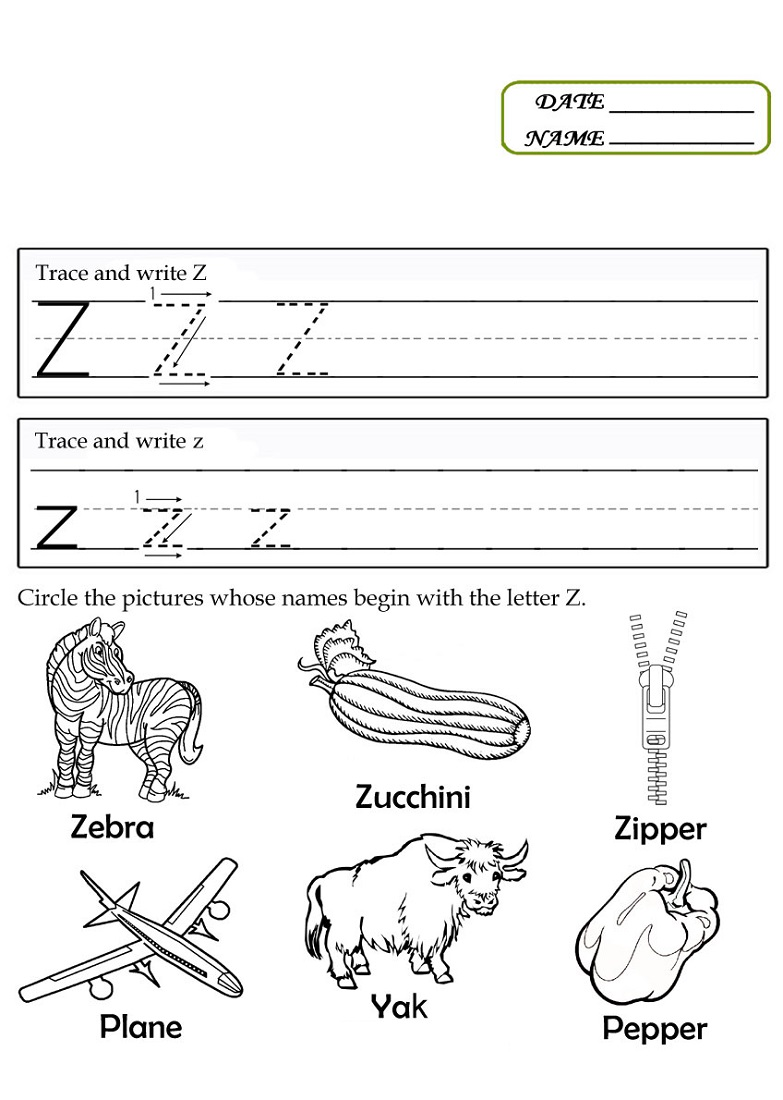 letter z worksheets free