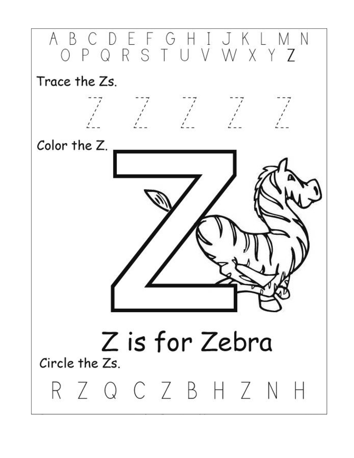 letter z worksheets printable