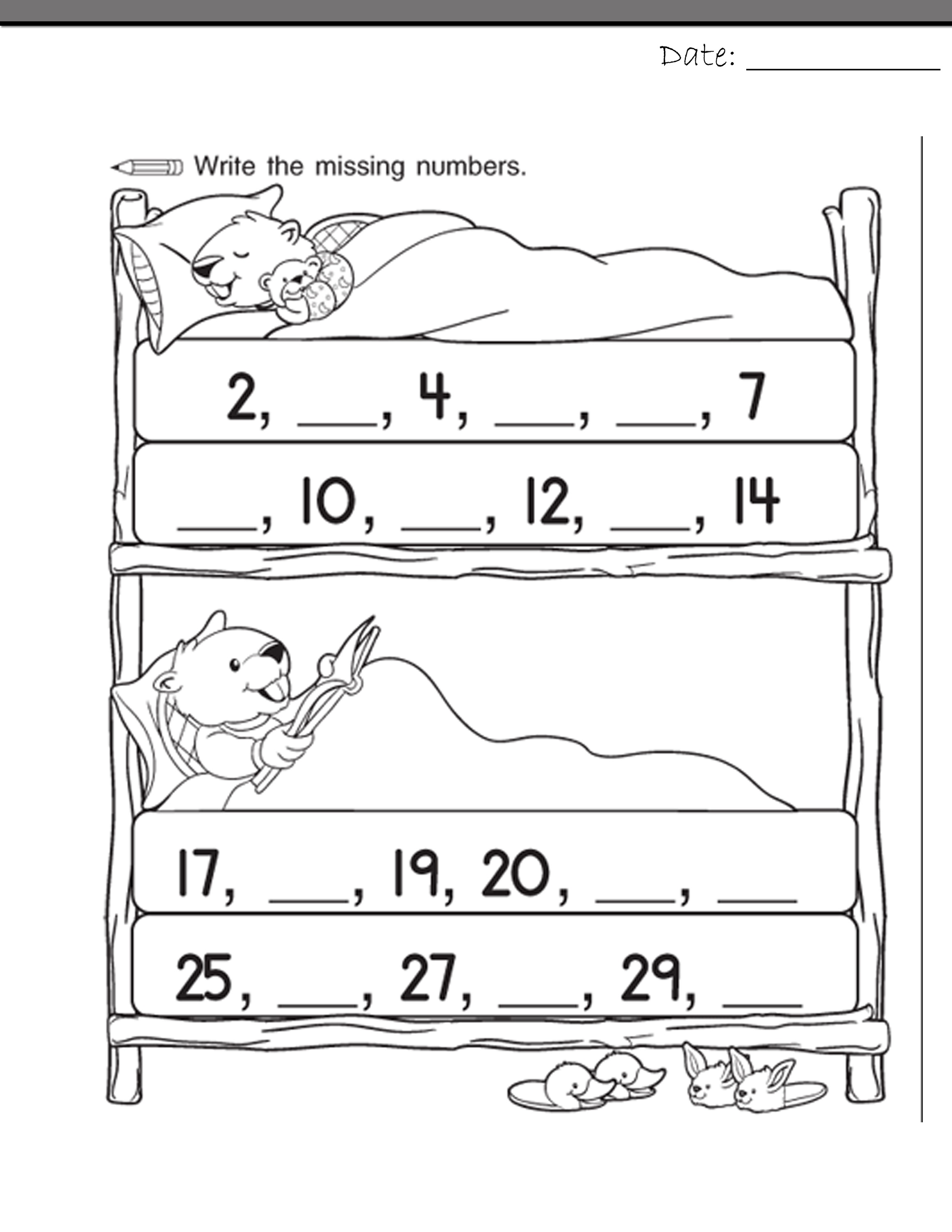 number worksheets for school