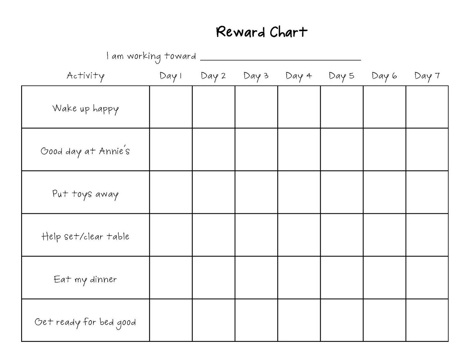 printable reward charts easy