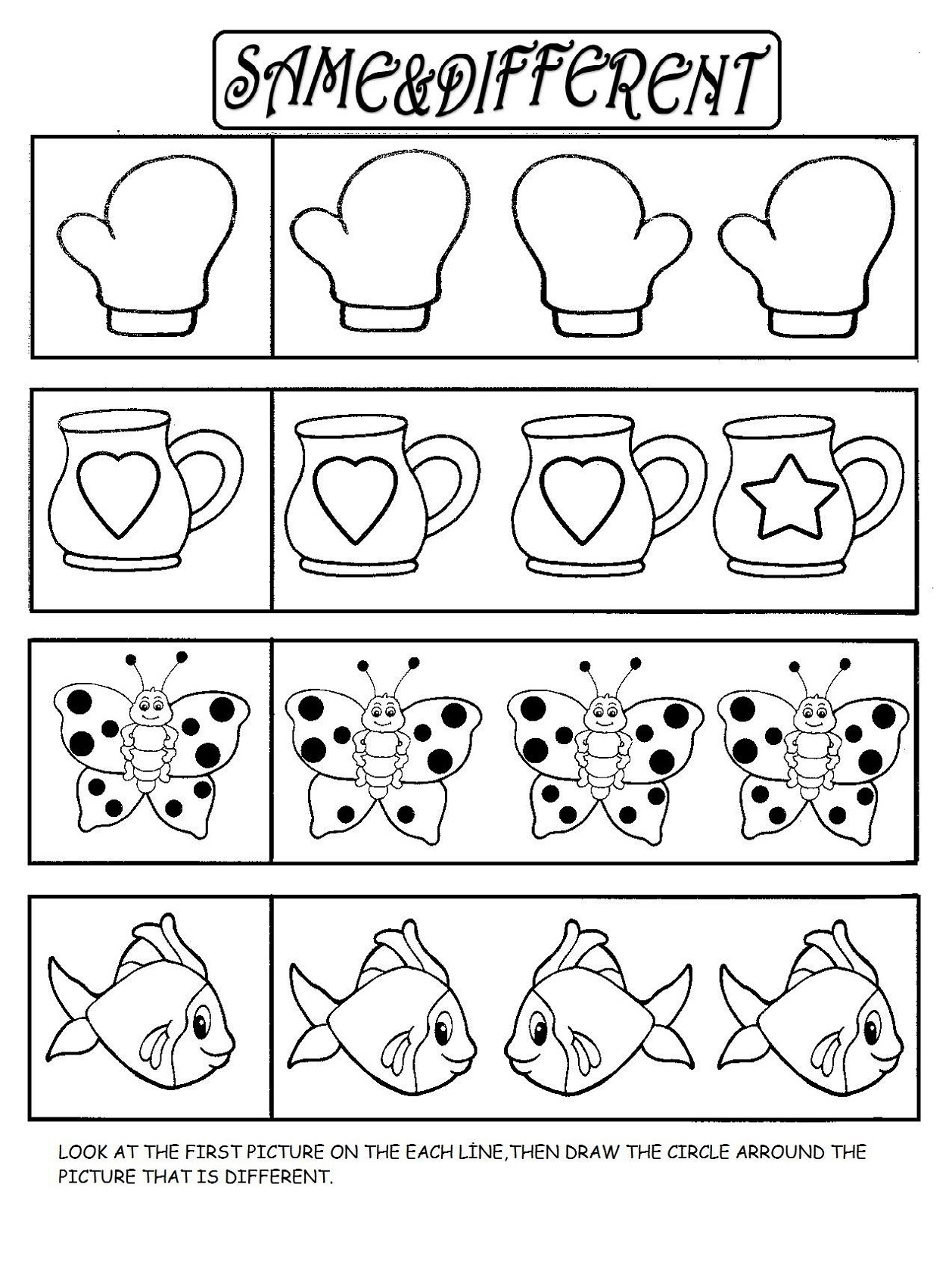 same or different worksheets for preschool
