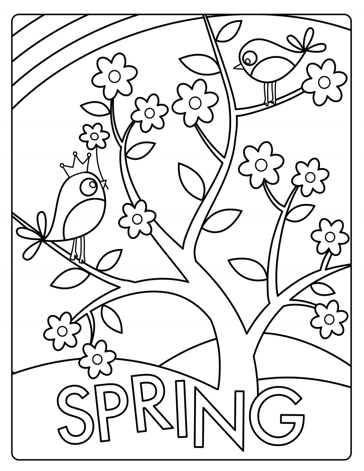 spring coloring pictures free