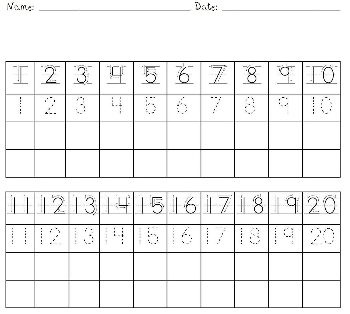 trace numbers 1 20 for school