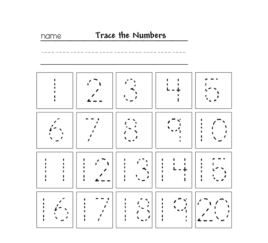 trace numbers 1 20 printables