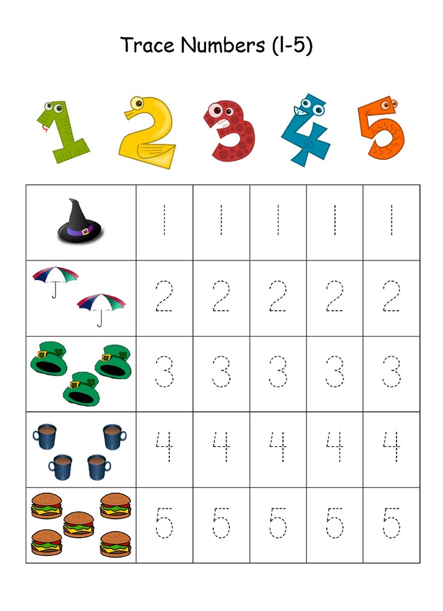 tracing numbers 1-5 for kids