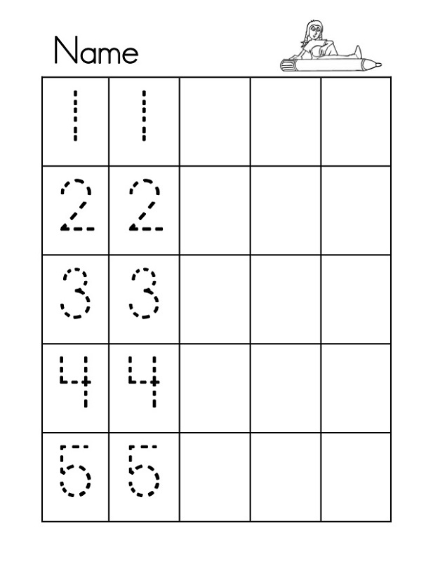 tracing numbers 1-5 printable
