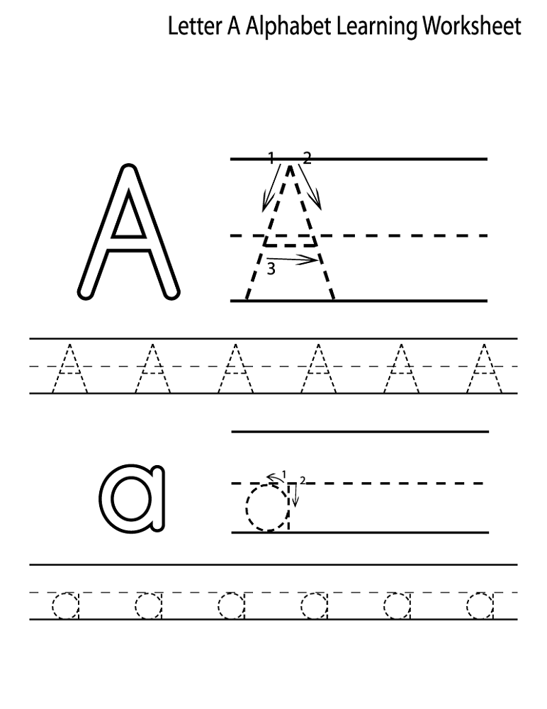 tracing the letter a easy