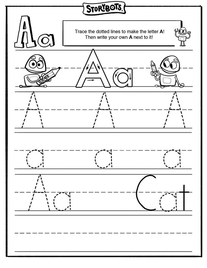 tracing the letter a for school