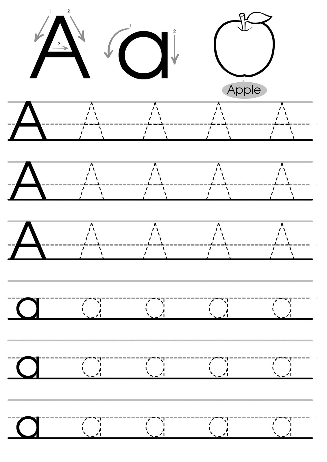 tracing the letter a free