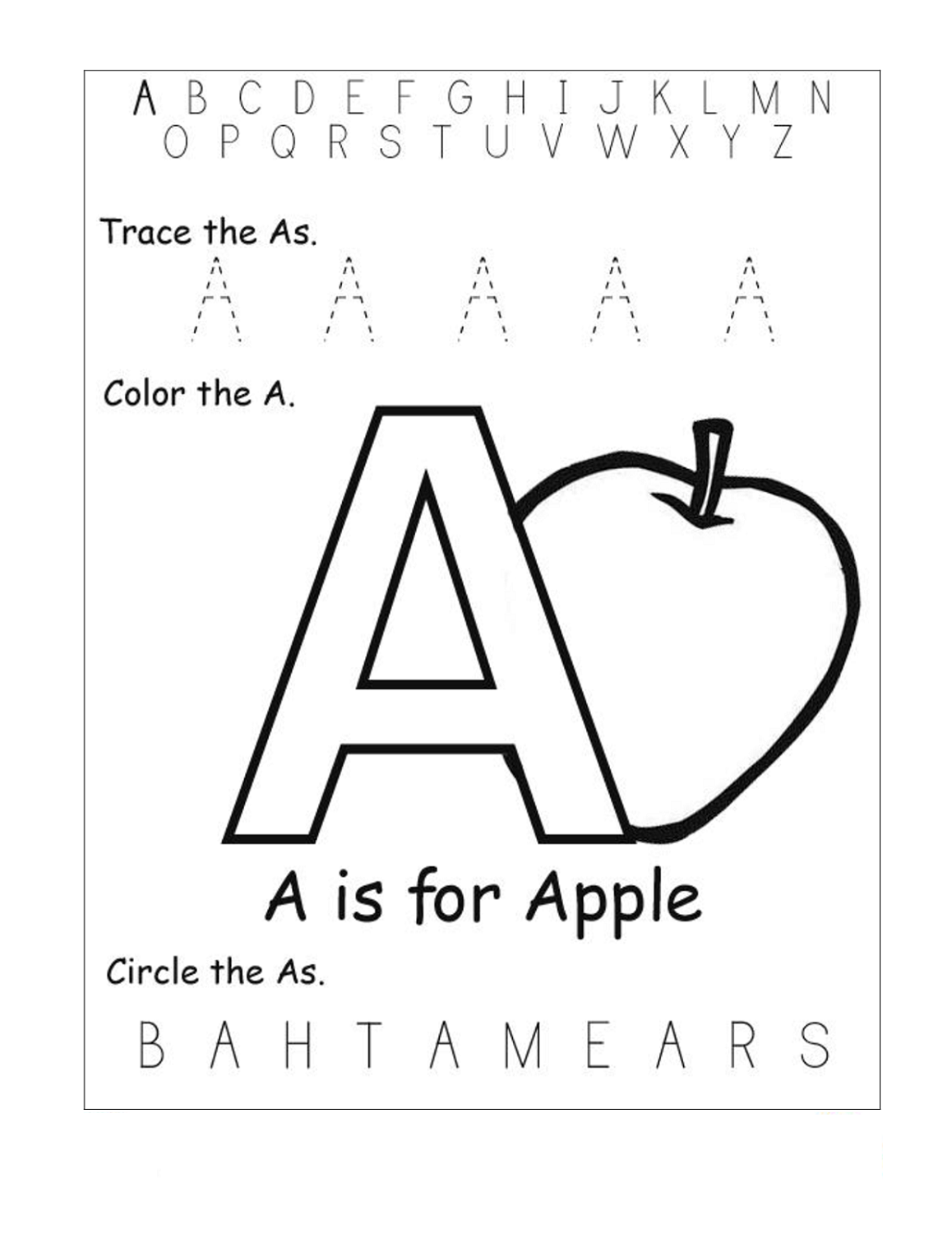 tracing the letter a fun