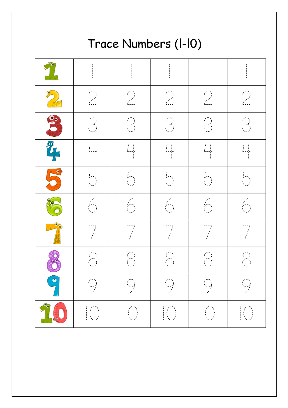 writing numbers worksheet for kindergarten