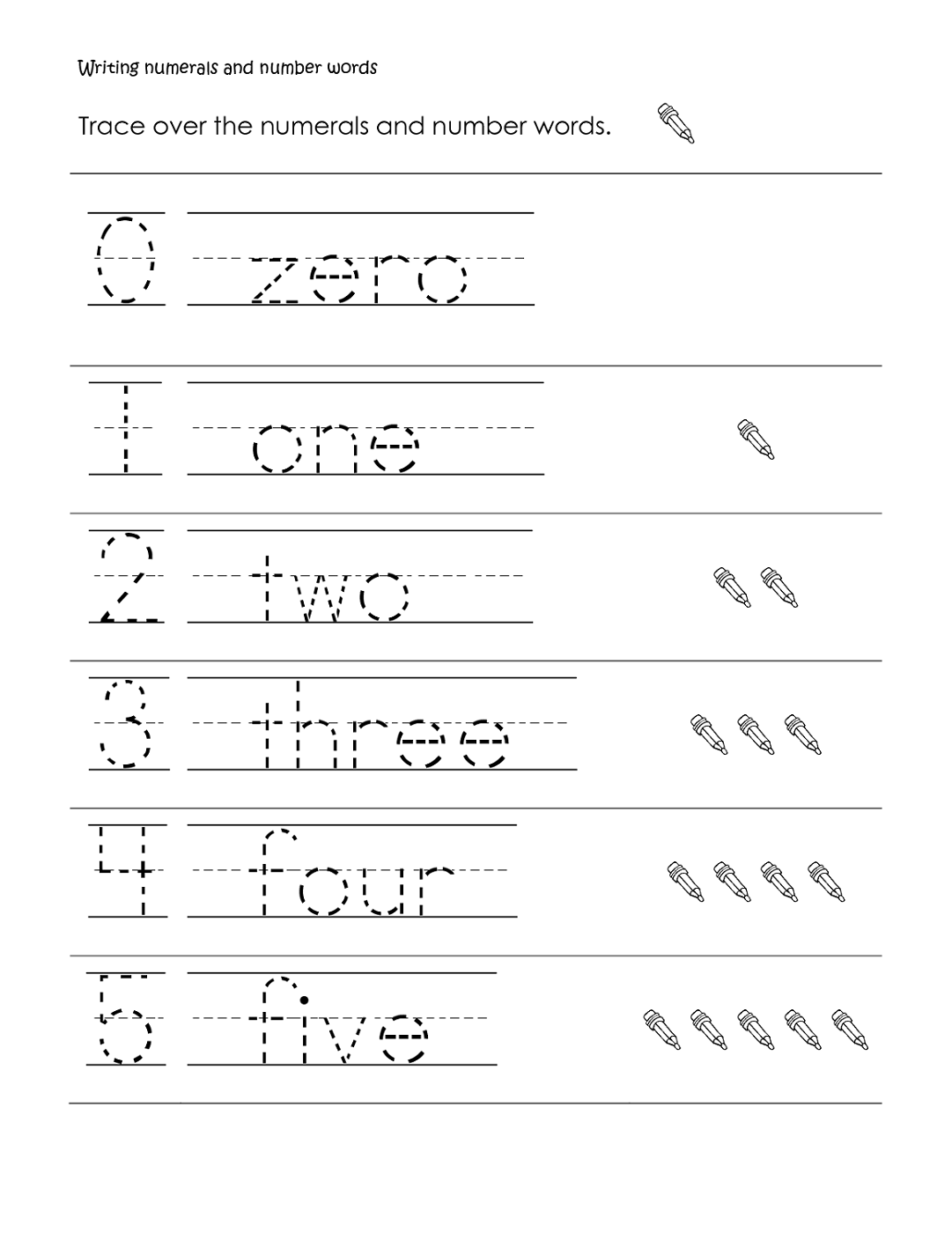 writing numbers worksheet for school