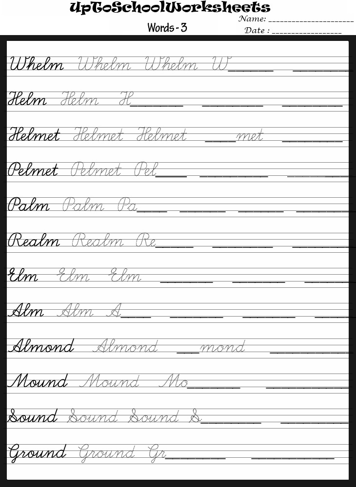 handwriting sheets for school