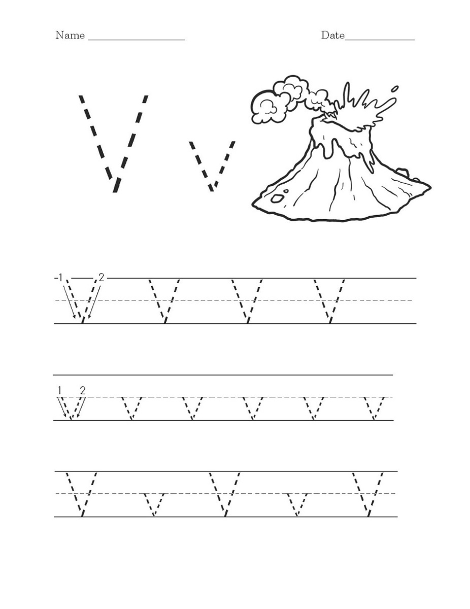 letter v worksheets for kids
