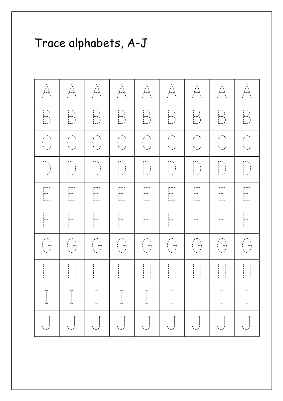 free printable letters to trace
