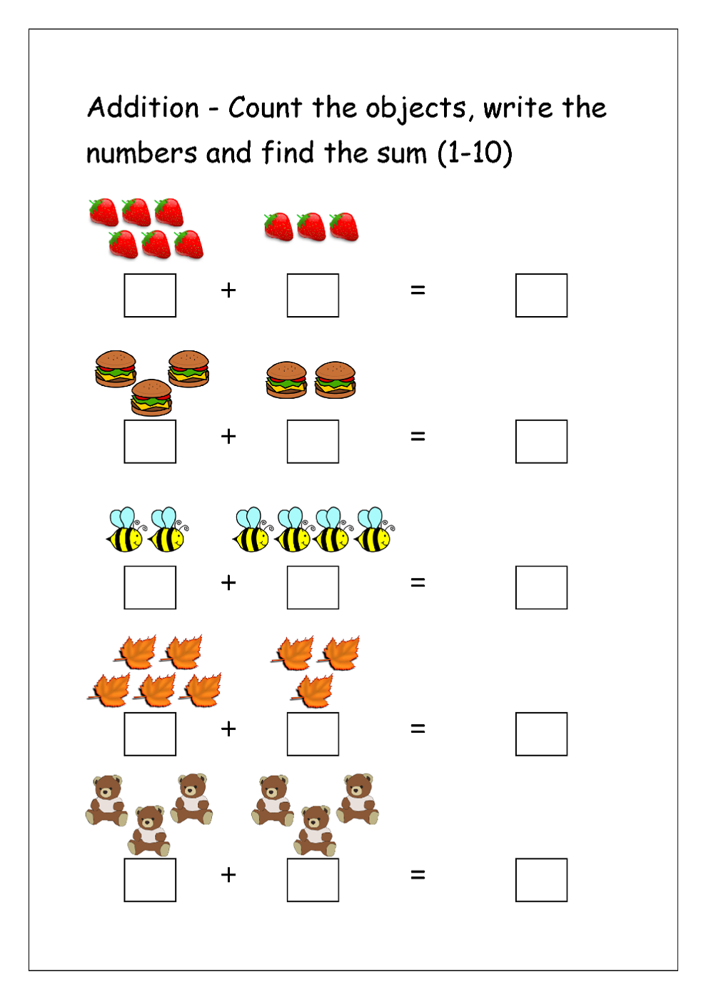 addition worksheets for grade 1 for kindergarten