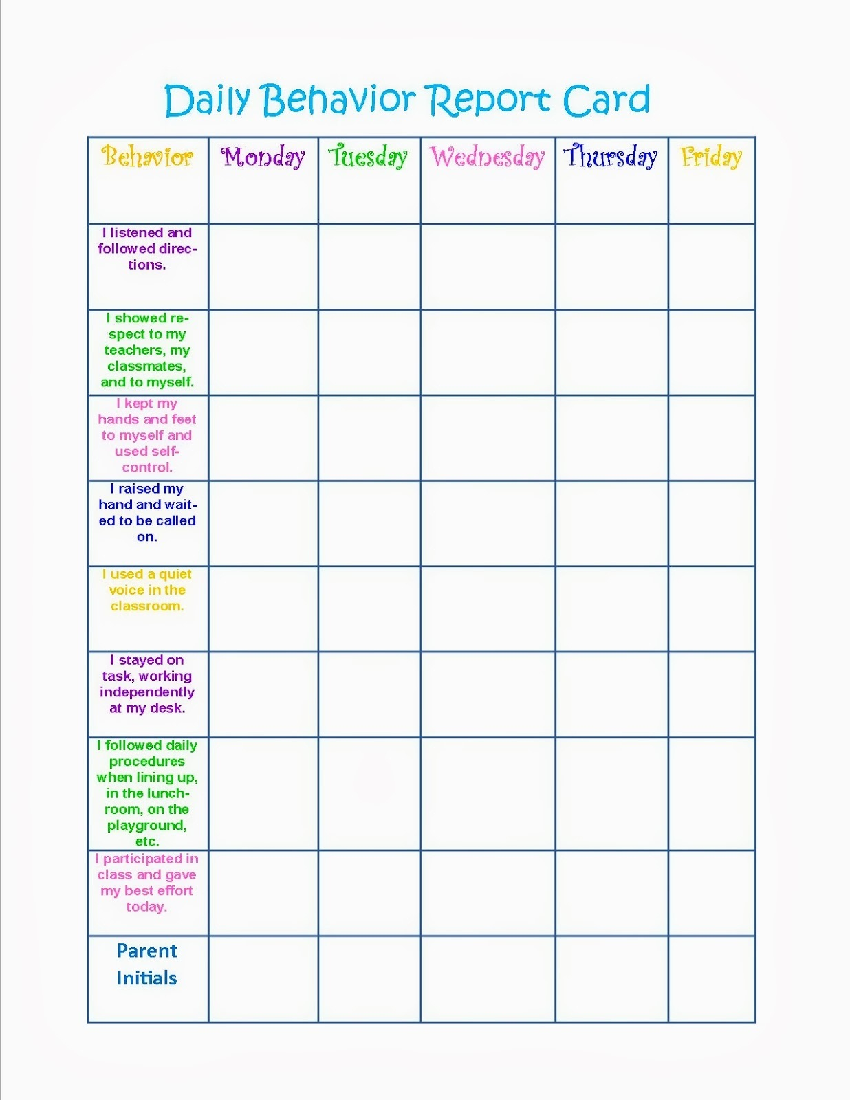 behavior charts printable