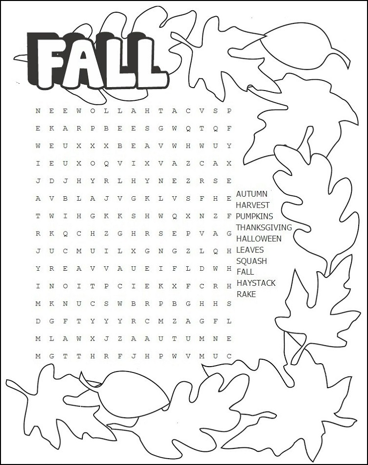 Fall Word Search - Coloring book