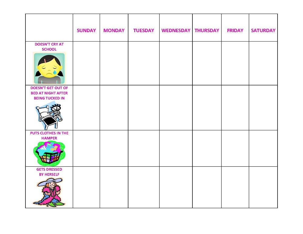 printable behavior charts for school