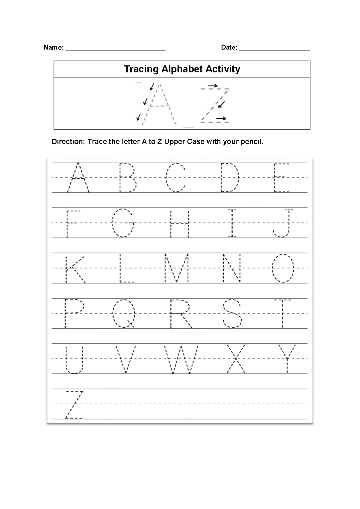 tracing alphabet worksheet