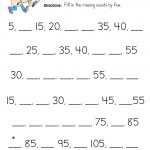 Count by 5 Worksheet - First grade