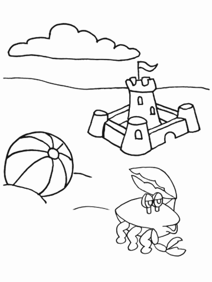 childrens coloring pages beach