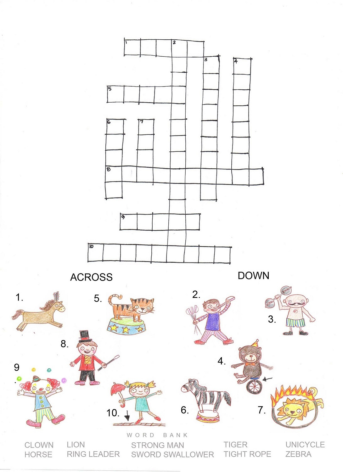 kids word puzzles worksheet