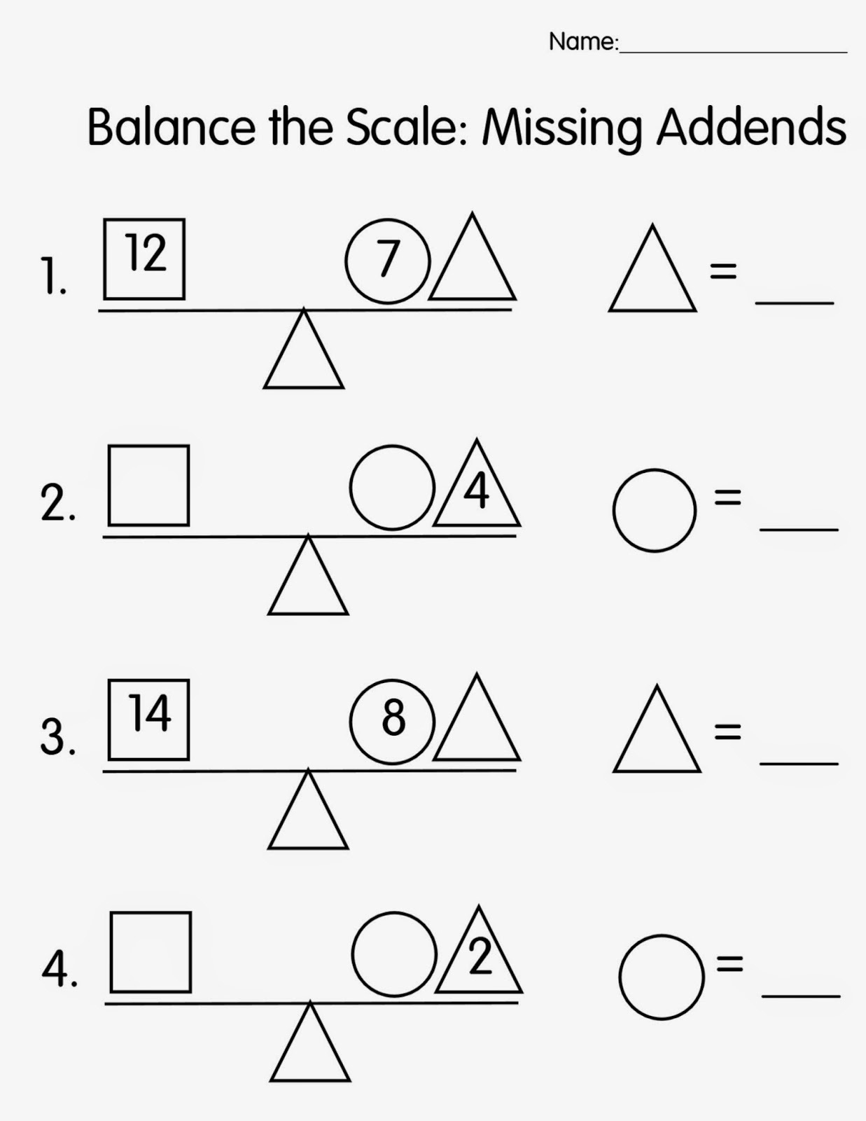 balance scale worksheet for kids
