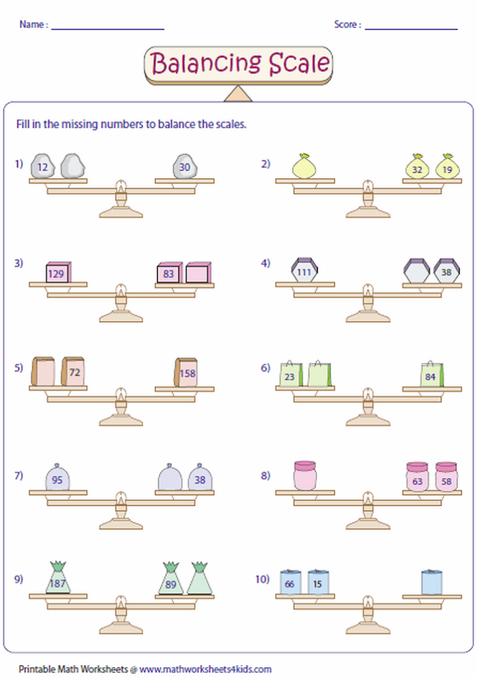 balance scale worksheet for preschool