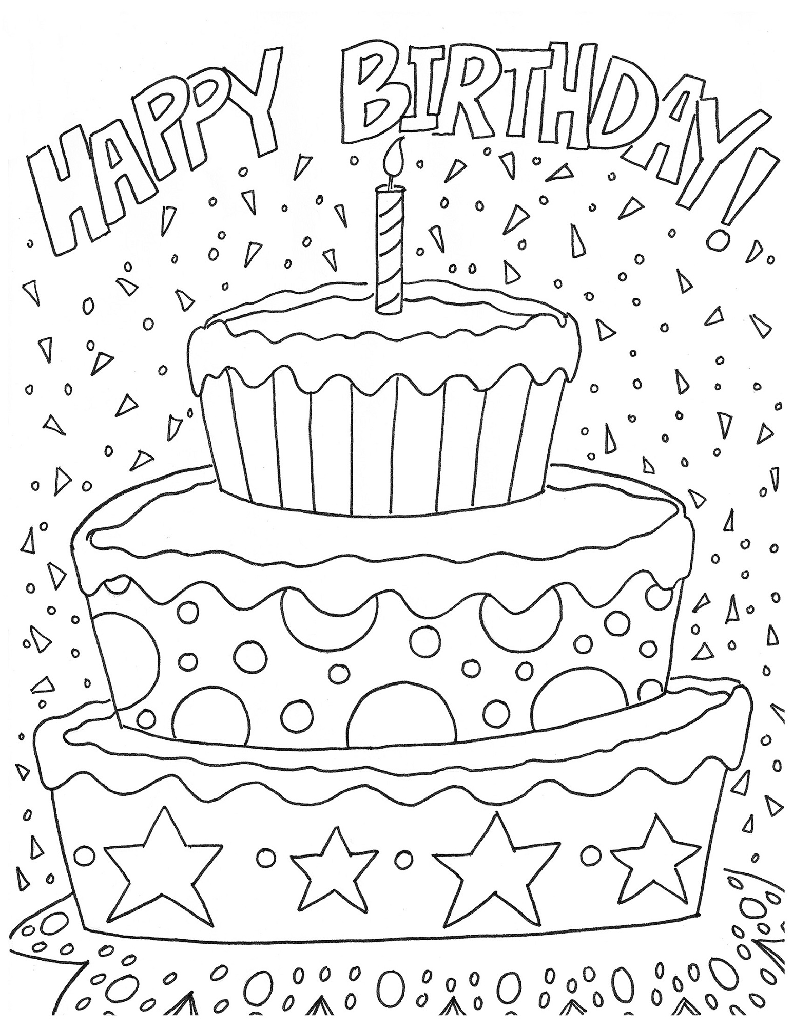 birthday cake color page worksheet