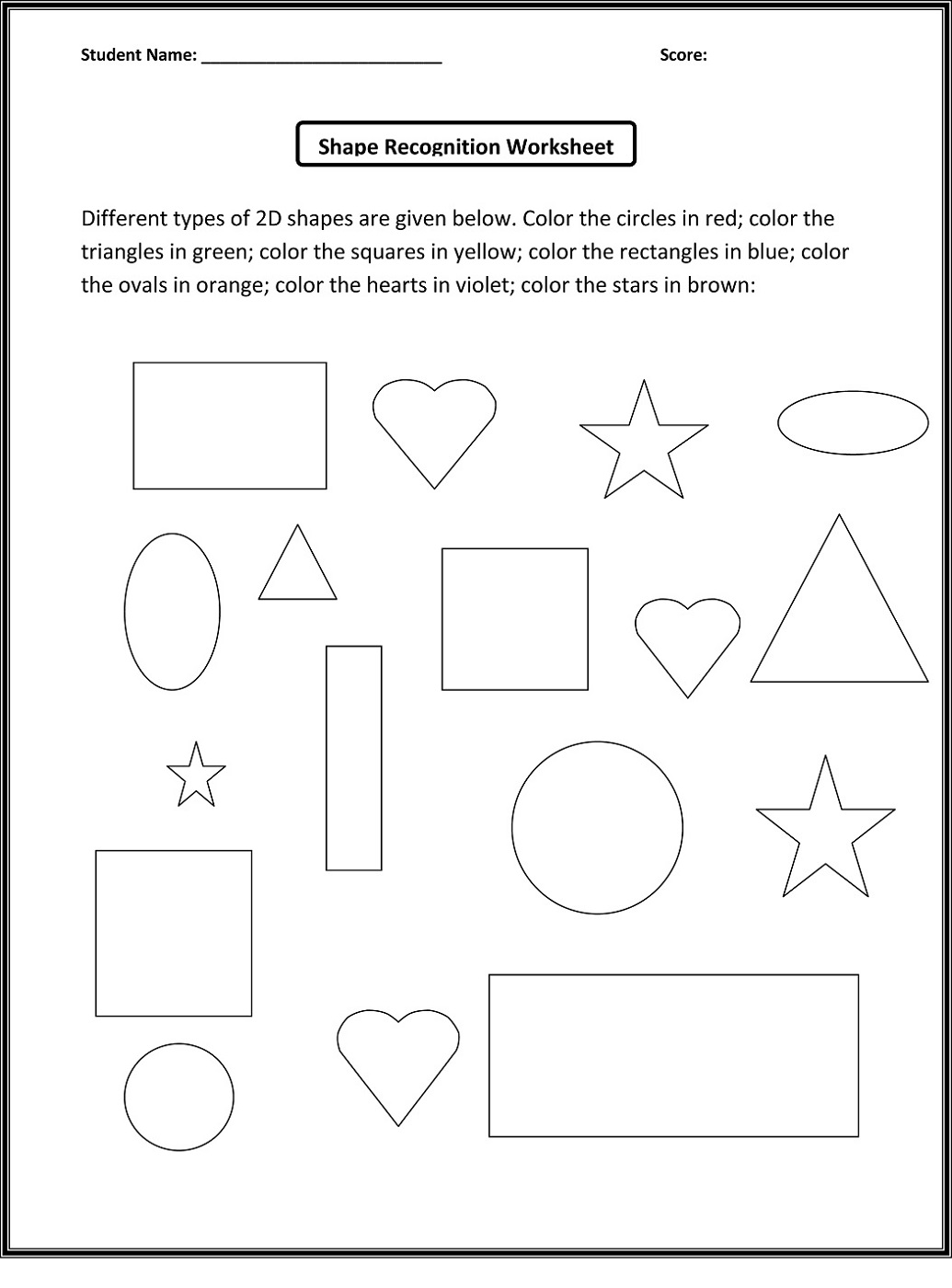 color the shapes worksheet for kids
