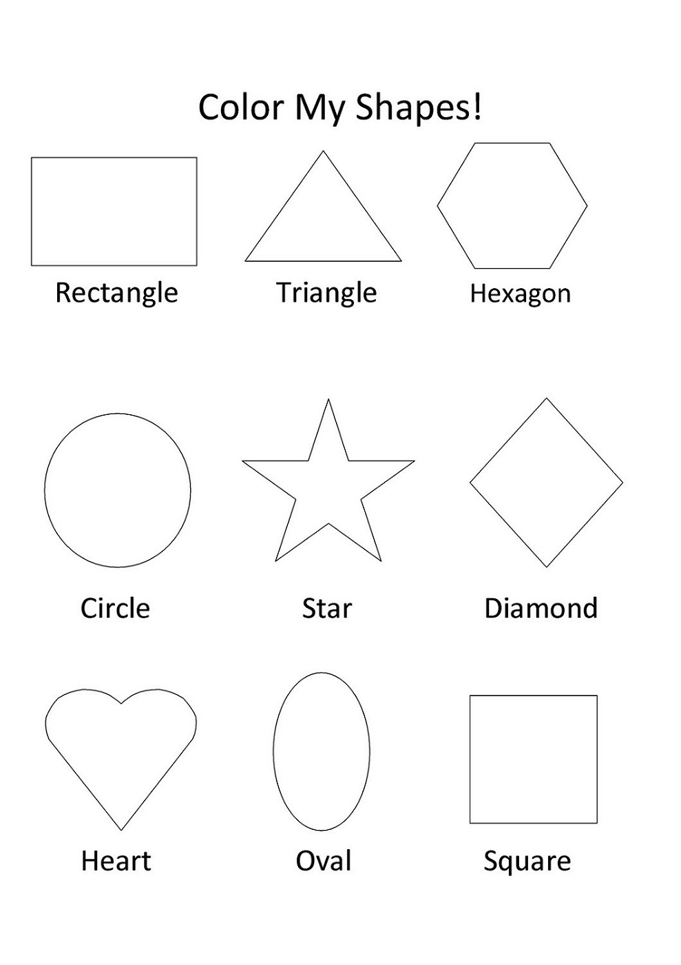 color the shapes worksheets