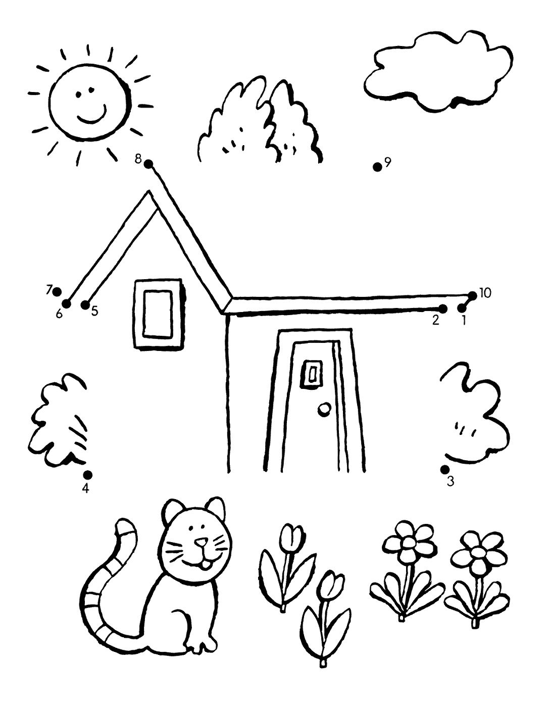 dot to dot for kids houses