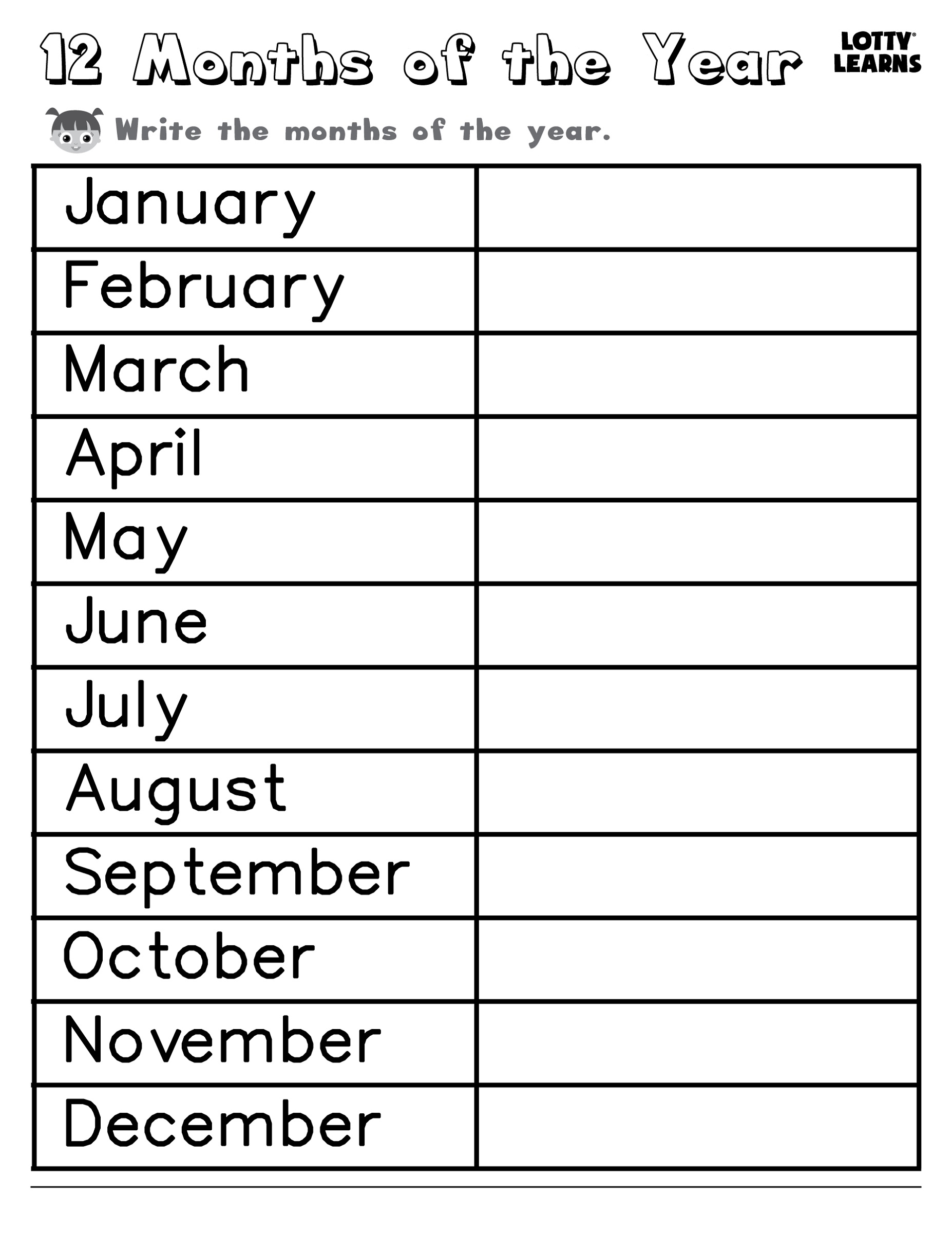 months of the year for kindergarten