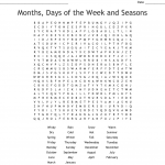 Months of The Year - Word search