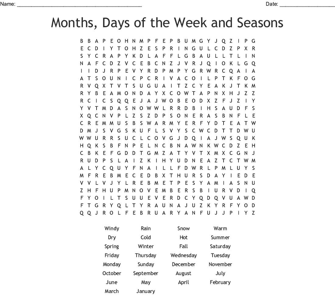 months of the year for worksheet