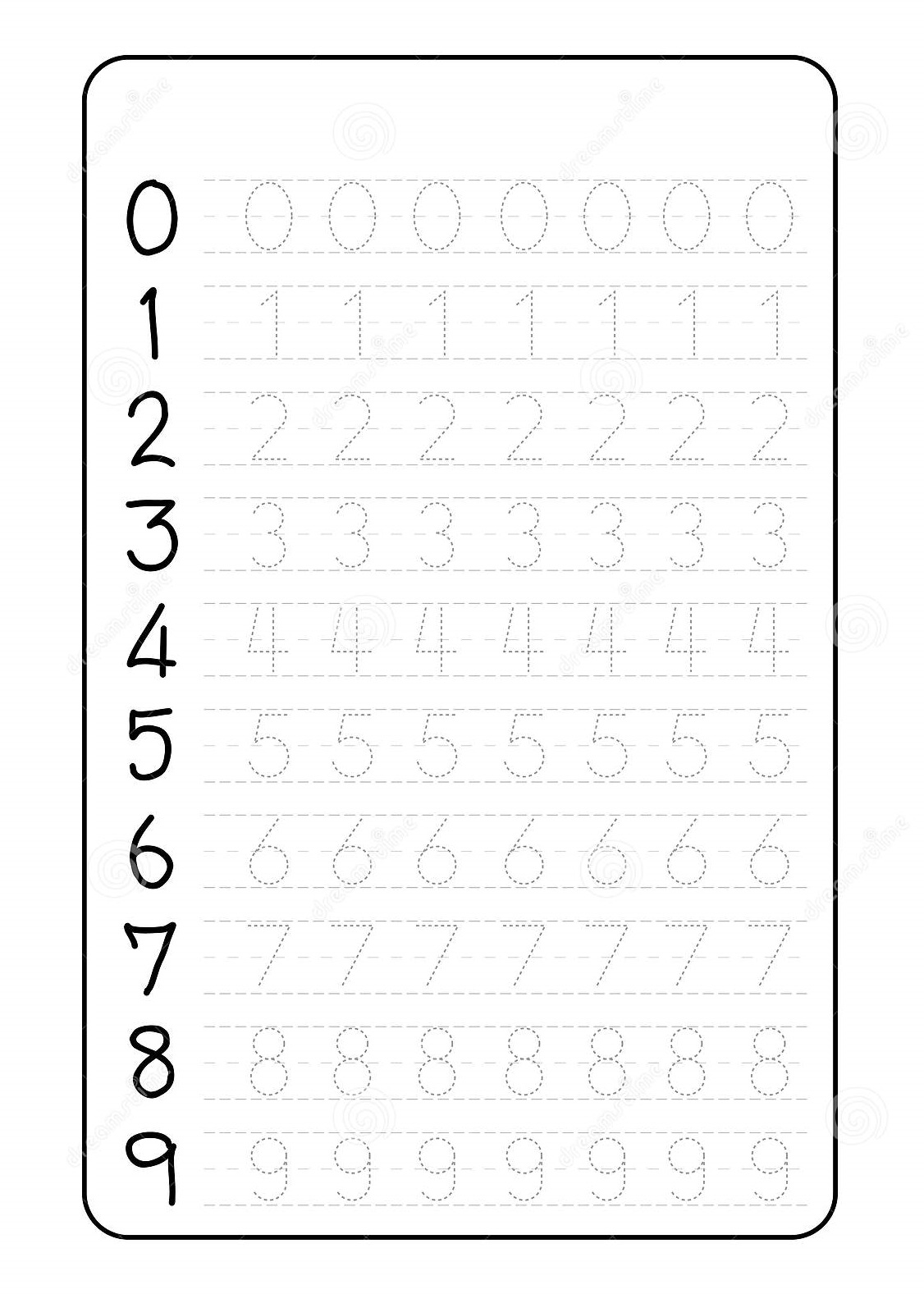 Number Trace Worksheets