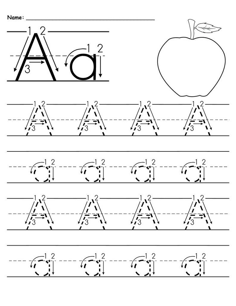traceable letter a worksheets