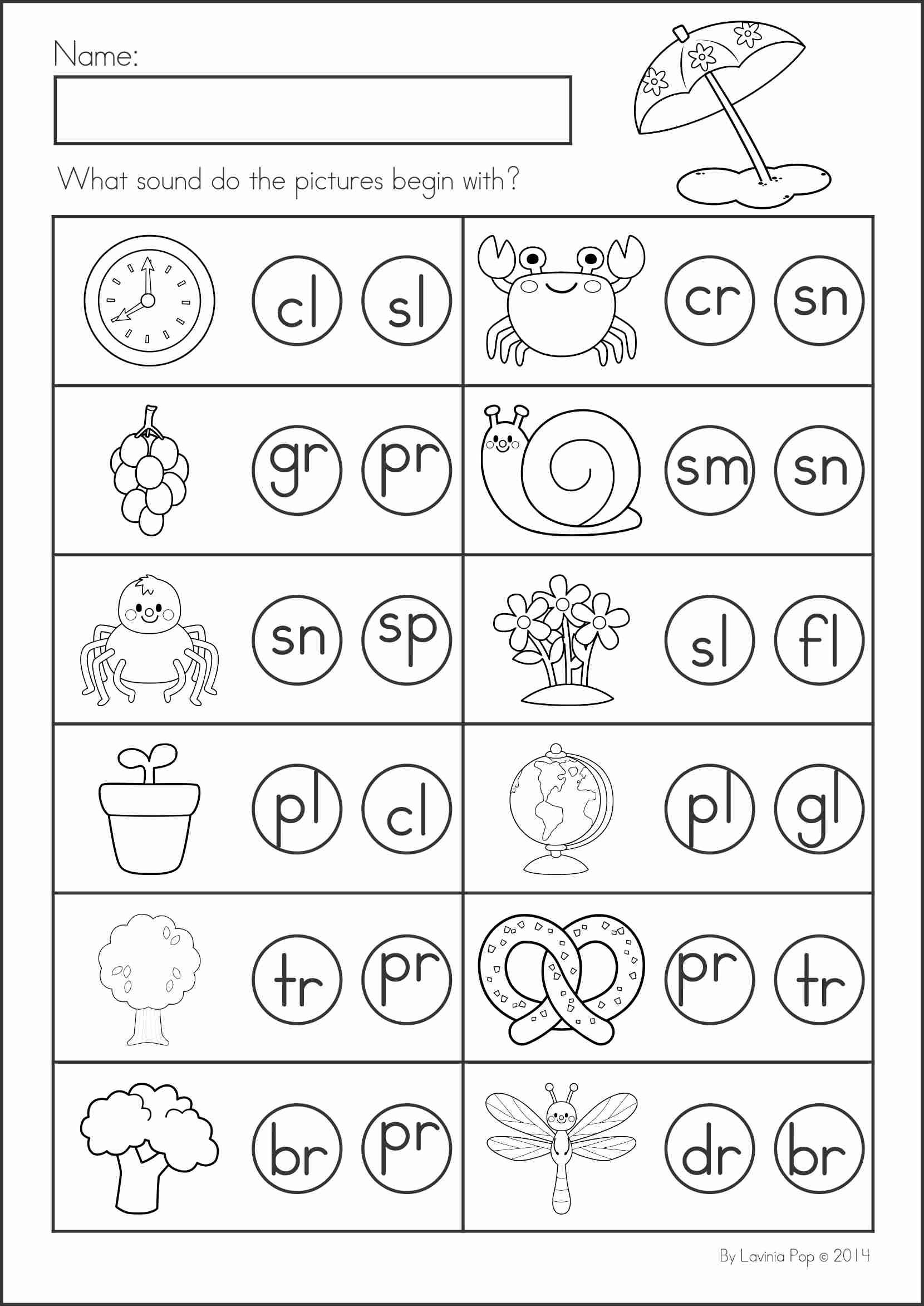 blends worksheets for kindergarten activity