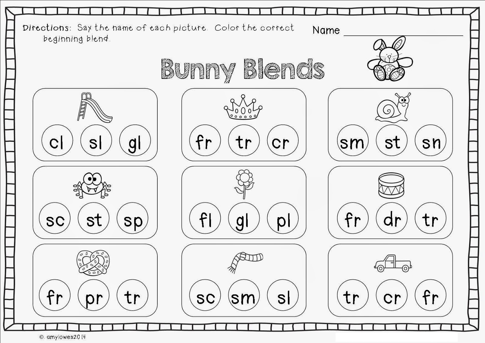 blends worksheets for kindergarten