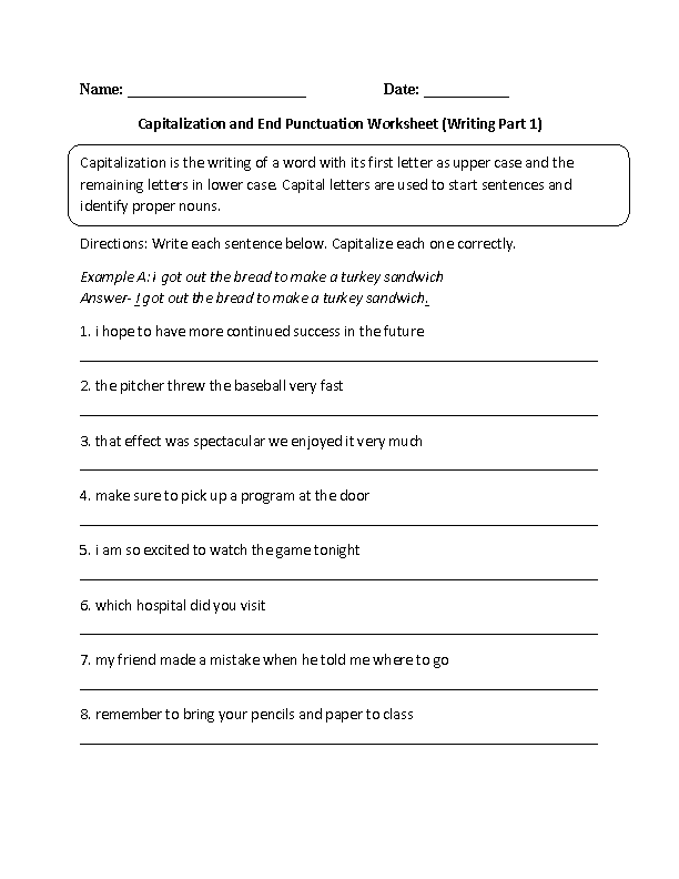 capitalization and end puntuation practice worksheets