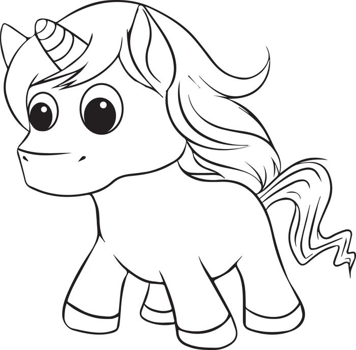 easy unicorn coloring pages for kids